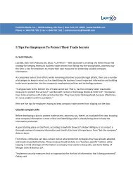 5 Tips For Employers To Protect Their Trade Secrets, Law360