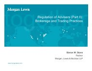 Regulation of Advisers - Morgan, Lewis & Bockius