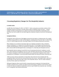5 Looming Regulatory Changes For The Hospitality ... - Morgan Lewis