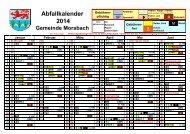 Abfallkalender 2014 Druckvorlage Flurschütz - Gemeinde Morsbach