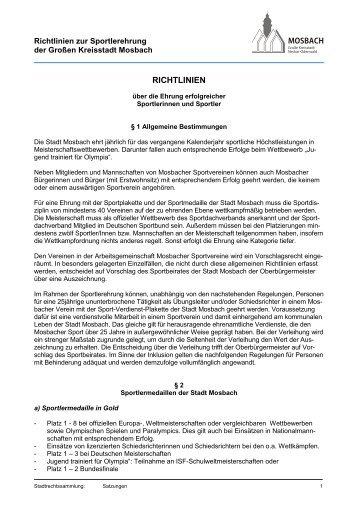 Sportlerehrung (Richtlinien), 78 KB - Mosbach