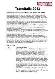 Transitalia 2013 Ein Stiefel voller Kurven – kreuz ... - Motorrad online