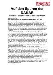 Auf den Spuren der DAKAR - Motorrad online