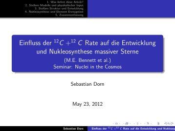 Einfluss der 12C +12 C Rate auf die Entwicklung und ...