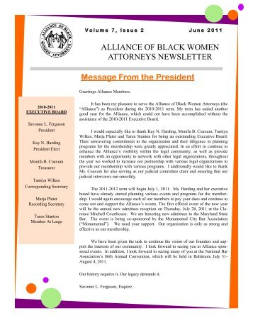 June 2011 Newsletter Vol. 7 No.2 - The Maryland State Bar ...