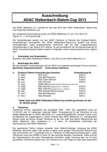 Ausschreibung Walkenbach-Cup 2013 - MSC Adenau e. V.