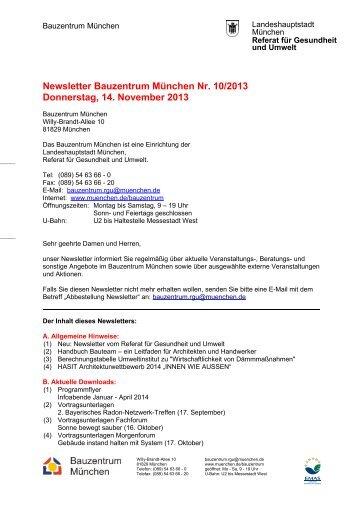 Newsletter Bauzentrum München Nr. 10/2013 Donnerstag, 14 ...
