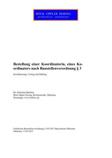 Koordinierung, Vertrag und Haftung - muenchner-fachforen.de