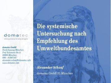 Die systemische Untersuchung nach Empfehlung des Umweltbundesamtes ...