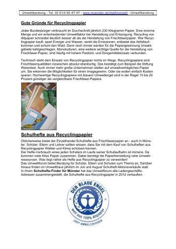 Recyclingpapier: Umweltfreundliche Schulhefte und ... - Stadt Münster
