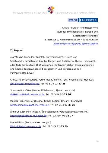 Rundbrief Nr. 1 2014 - Stadt Münster