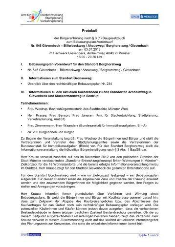 Protokoll zur Bürgeranhörung zum Bebauungsplan ... - Stadt Münster