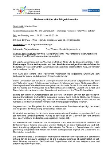 Protokoll der Bürgeranhörung - Stadt Münster