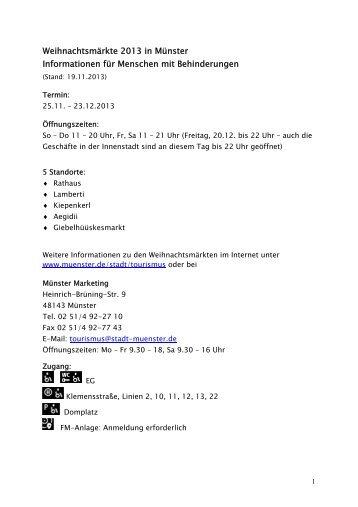 Informationen für Menschen mit Behinderungen - Stadt Münster