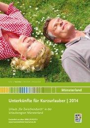 Unterkünfte für Kurzurlauber | 2014 - Münsterland