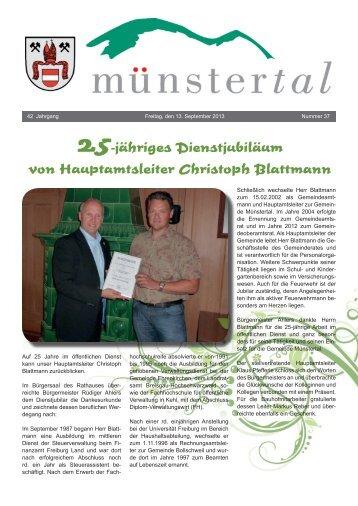25-jähriges Dienstjubiläum von Hauptamtsleiter ... - Münstertal