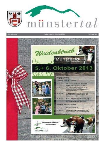 42. Jahrgang Freitag, den 04. Oktober 2013 Nummer 40 - Münstertal