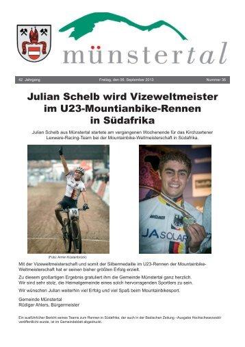Julian Schelb wird Vizeweltmeister im U23 ... - Münstertal