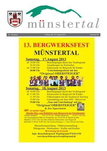 42 Jahrgang Freitag, den 16. August 2013 Nummer 33 - Münstertal