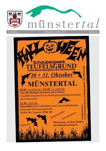 42. Jahrgang Freitag, den 25. Oktober 2013 Nummer 43 - Münstertal