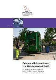 Daten und Informationen zur Abfallwirtschaft 2013 ... - MUGV