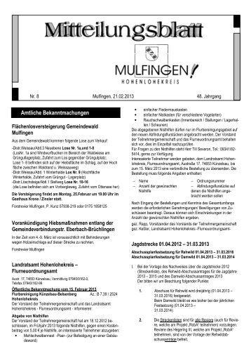 Amtliche Bekanntmachungen - Gemeinde Mulfingen