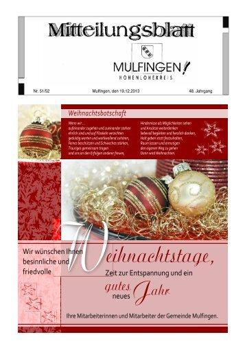 eihnachtstage, - Gemeinde Mulfingen