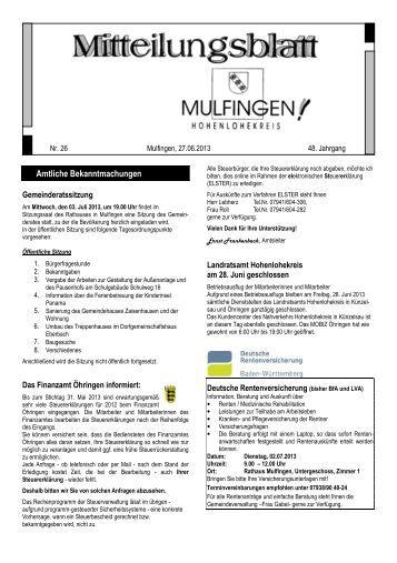 Verteilung an alle Haushalte am 5. Juli 2013 - Gemeinde Mulfingen