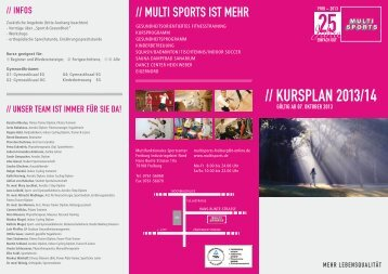 Download Kursplan mit Kursbeschreibung - Sportcenter Multi Sports