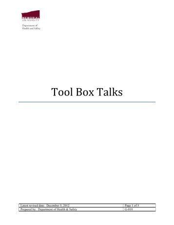 G-010 - tool box talks - Memorial University of Newfoundland
