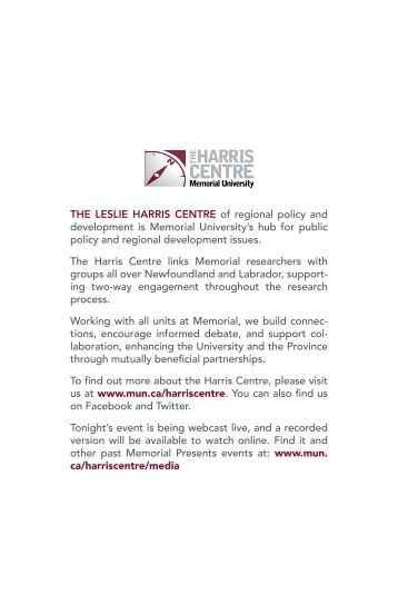 THE LESLIE HARRIS CENTRE of regional policy and development ...