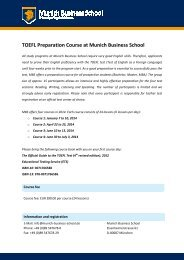 TOEFL Preparation Course at Munich Business School
