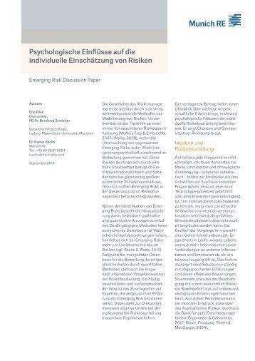 Psychologische Einflüsse auf die individuelle ... - Munich Re
