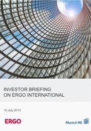 Investor Briefing on ERGO International - Munich Re
