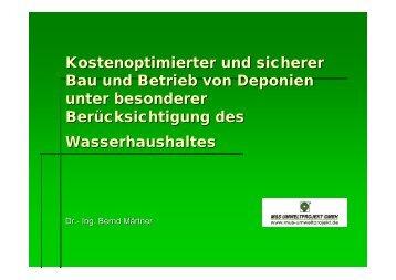 Kostenoptimierter und sicherer Bau und Betrieb von Deponien unter ...