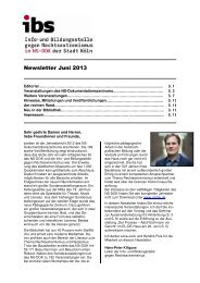 Newsletter ibs Juni 2013 - museenkoeln.de