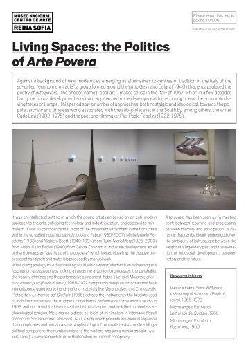 Living Spaces: the Politics of Arte Povera - Museo Nacional Centro ...