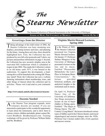 Stearns Newsletter - University of Michigan School of Music