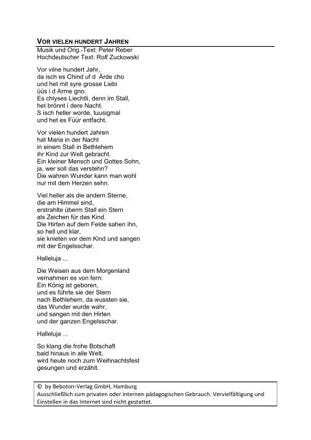 Rolf Zuckowski Weihnachtslieder Texte.Vor Vielen Hundert Jahren Pdf Rolf Zuckowski