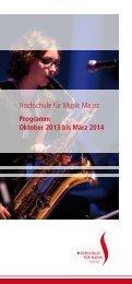 Programmbroschüre Oktober 2013 bis März 2014 - Hochschule für ...