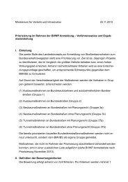 Verfahrensweise und Ergeb - Ministerium für Verkehr und ...