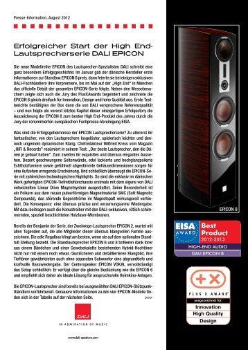 Erfolgreicher Start der High End- Lautsprecherserie ... - MW-AUDIO