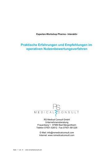 Praktische Erfahrungen und Empfehlungen im operativen ...