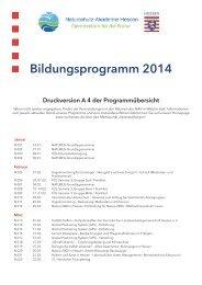 Bildungsprogramm 2014 - Naturschutz-Akademie Hessen