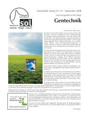 Gentechnik - SOL - Menschen für Solidarität, Ökologie und Lebensstil