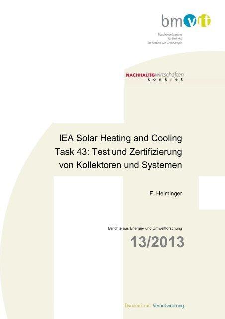 IEA Solar Heating and Cooling Task 43 - NachhaltigWirtschaften.at