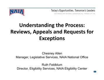 Reviews, Appeals and Requests for Exceptions - NAIA