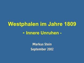 Westphalen im Jahre 1809 - Innere Unruhen - Napoleon Online