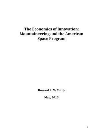 The Economics of Innovation: Mountaineering and the ... - NASA