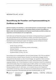 Neueröffnung der Porzellan- und Fayenceausstellung im Zunfthaus ...